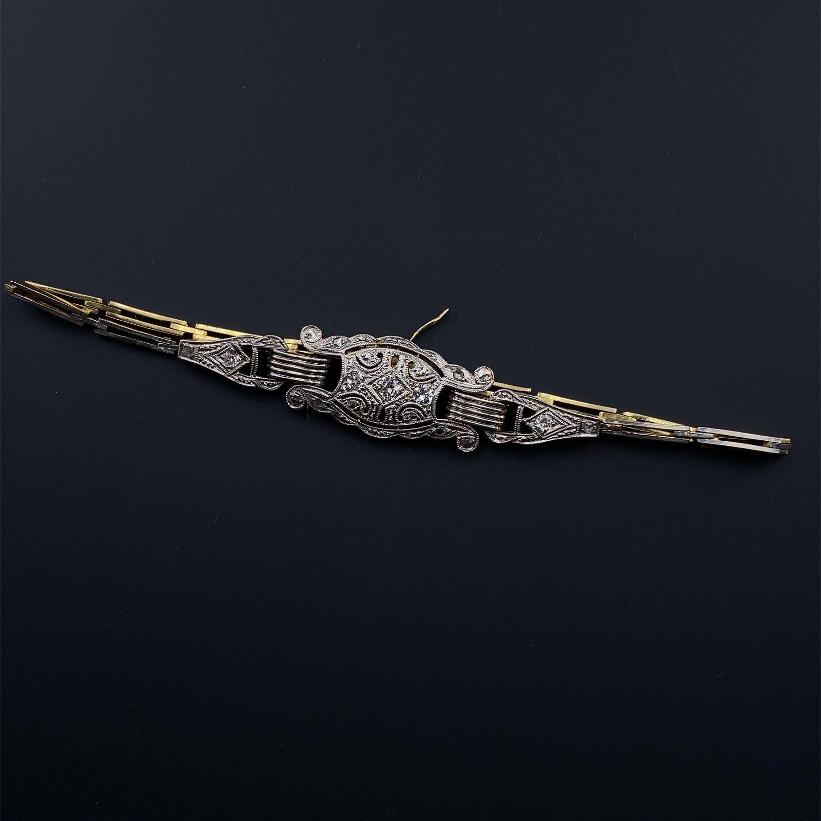 Art Deco Diamonds Platinum & 18k Gold Bracelet