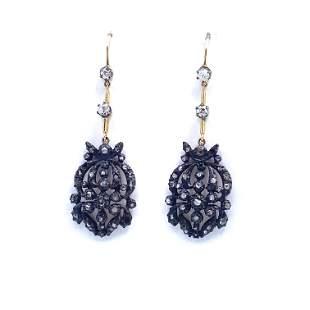 Georgian Diamonds, 18k Gold & Silver Drop Earrings