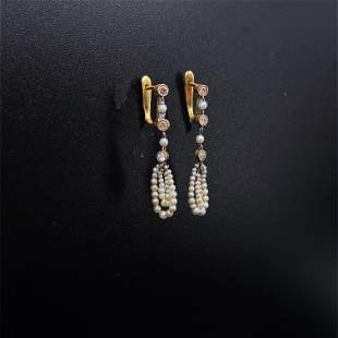 Antique Natural Micro Pearls & Diamond Platinum Drop