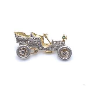 Art Deco Diamonds, Platinum & 18k Gold Car Pin Brooch