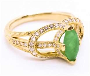 Emerald & Diamonds 18k Gold Ring