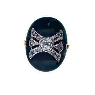 Antique Chalcedony & Diamonds, 18k Gold & Platinum Ring