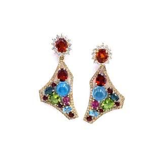18k Gold, Diamonds & Gemstones Convertible Earrings