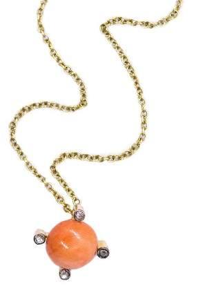 Art deco Coral & Diamonds 18kt chain pendant