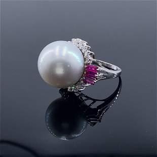 Vintage 18k White Gold Diamonds & Pearl Ring