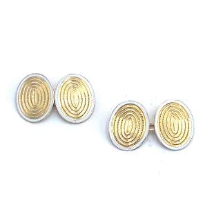 18k Gold & Enamel French hallmark Cufflinks