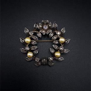 Victorian Diamonds Low Gold Brooch