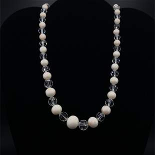Rock Crystal, Coral, diamonds & Platinum Necklace