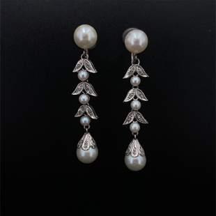Diamonds, pearls 18k Gold Drop Earrings