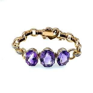 Vintage 18k Gold, Diamonds & Amethysts Bracelet