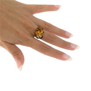 Vintage 18k Gold, Rubies & Enamel panther Ring