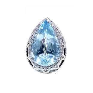 18k Gold, Aquamarine & Diamonds Ring