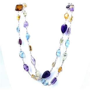Vintage 18k Multicolor Gemstones Necklace