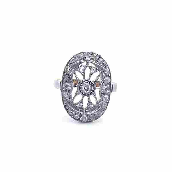 Art Deco Diamonds, Platinum & 18k Gold Ring