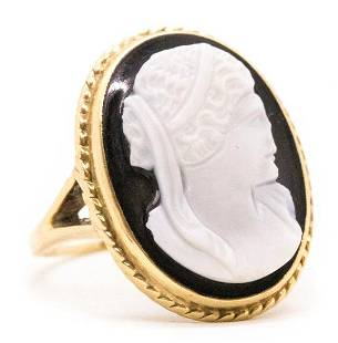Antique Jasper and Onyx Cameo 14k Ring