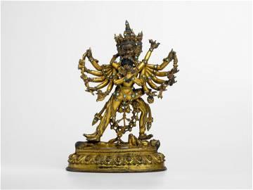 A Gilt-bronze figure of Chakrasamvara