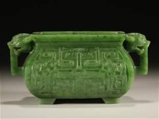 Hetian green jade incense burner with monster holders