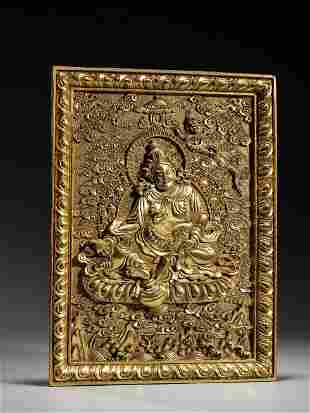 Bronze gilt plate Buddha statue in Qing Dynasty