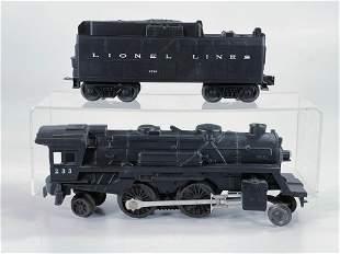 Lionel #233 Black Loco with #233W Tender