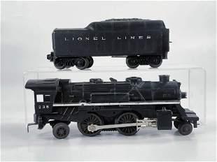 Lionel Postwar #238 Black Loco with White Stripe, with