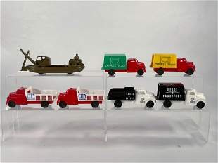 Pyro Plastics Six Trucks and Military Boat
