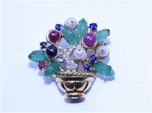 Brooch (flower bouquet) in yellow gold 18ct. with