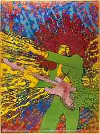 1968 Jimi Hendrix Martin Sharp Big O Original Poster