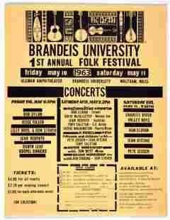1963 Bob Dylan Brandeis Univ HB Flyer Ticket Order Form