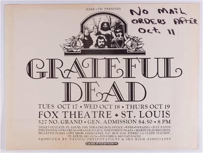 1972 Grateful Dead Fox Theatre Poster