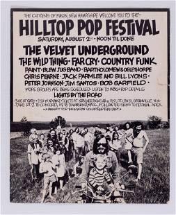 1969 Velvet Underground Hilltop Pop Festival Poster