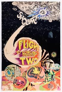1968 Jimi Hendrix Pink Floyd Flight To Lowlands Poster