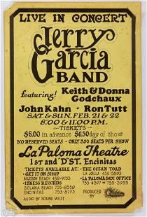 1976 Jerry Garcia Band La Paloma Theatre Poster