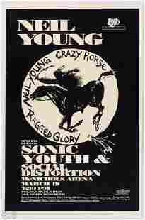 1991 Neil Young & Sonic Youth Mcnichols Arena Poster