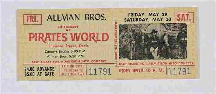 1970 Allman Brothers Pirates World Concert Ticket