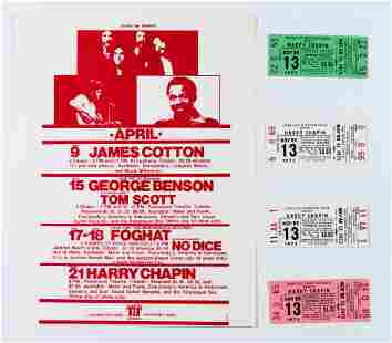 Collection of 5 Harry Chapin Items, Tickets & Handbill