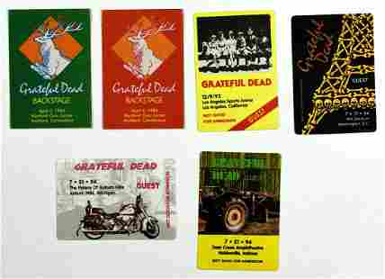 Collection of 6 Grateful Dead Unused Backstage Passes