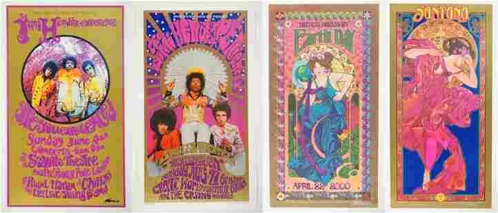 Grab Bag of 2 Masse and 2 Hendrix Commemorative Posters