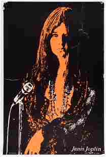 1970 Janis Joplin Blacklight Headshop Poster