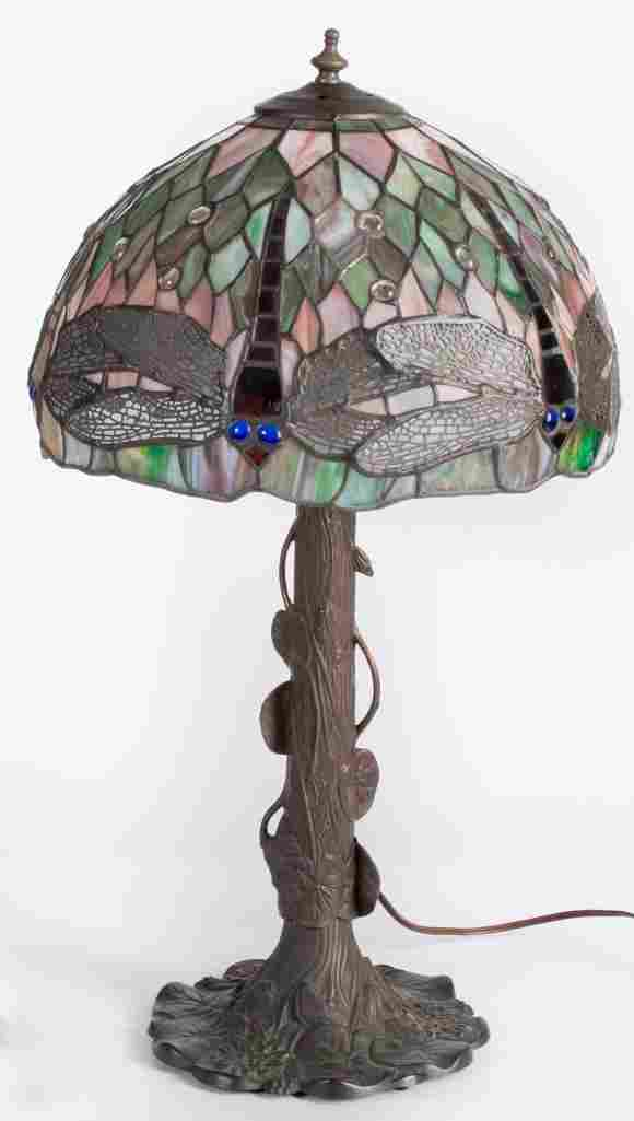 A 20th Century Tiffany Style Table Lamp with Leaded