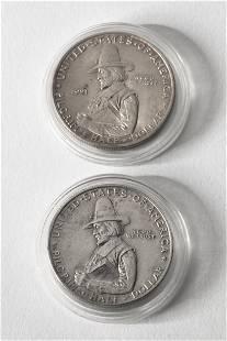 2 x Half Dollar USA Pilgrim Tercentenary Celebration