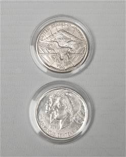 2 x Half Dollar USA 1935+1936 Arkansas Centennial