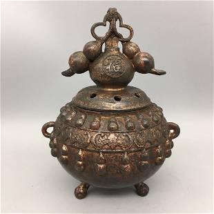 Old Copper Gourd Incense Burner