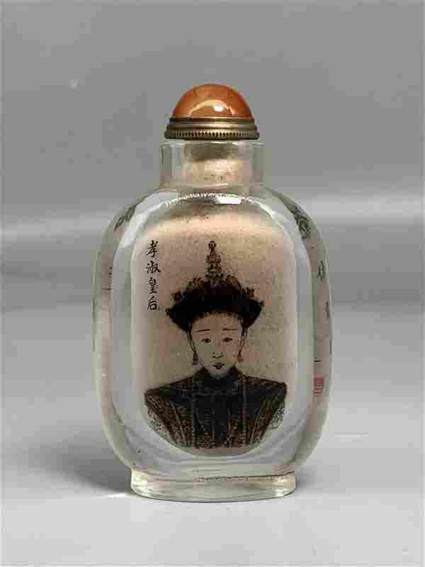 Painted snuff bottle in colored glaze