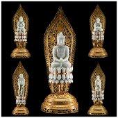 Chinese Qing dynasty gilt hetian jade Buddha