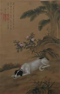 Painting : Dog by Lang Shining