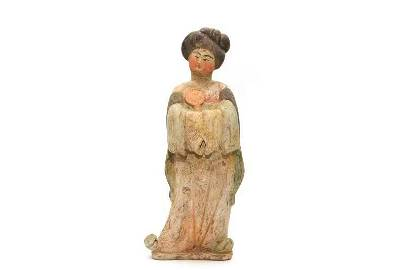 Chinese Tang Dynasty tomb pottery court woman with a TL