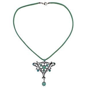 Antique Art Nouveau Gold Silver Diamond Turquoise