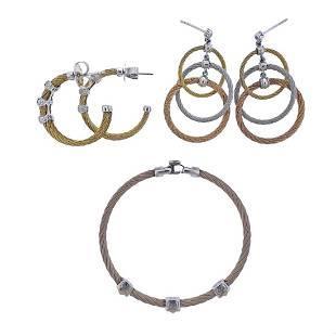 Charriol Alor 18k Gold Steel Diamond Bracelet Earrings