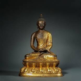 Qing Dynasty,Bronze Gilt Amitabha Buddha Statue