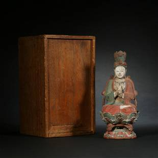 Liao Dynasty,Bronze Color Painting Buddha Statue